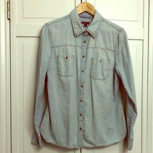 Merona L 100% Cotton Chambray Button Down Shirt